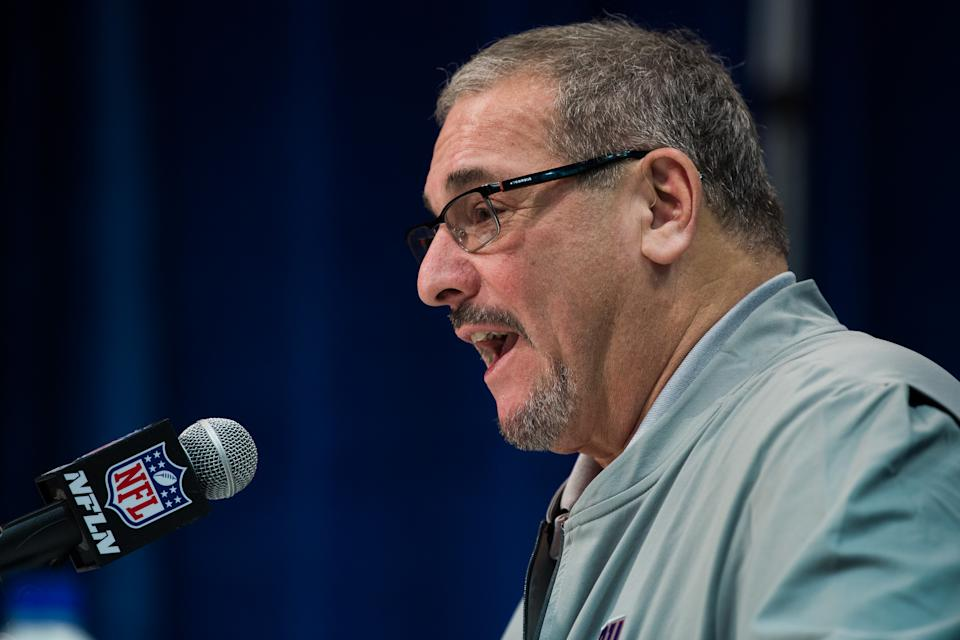 INDIANAPOLIS, IN - FEBRUARY 25: New York Giants general manager Dave Gettleman answers questions from the media  during the NFL Scouting Combine on February 25, 2020 at the Indiana Convention Center in Indianapolis, IN. (Photo by Zach Bolinger/Icon Sportswire via Getty Images)