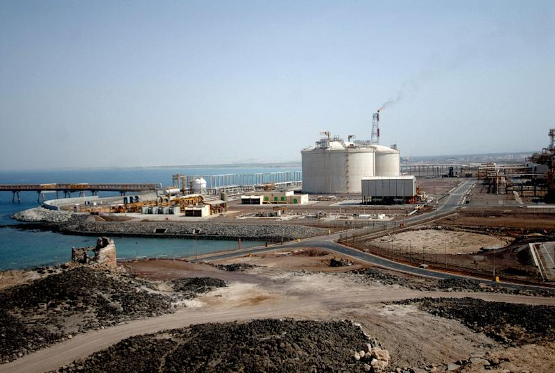 View of the Balhaf liquefied natural gas (LNG) plant on the Gulf of Aden in Yemen