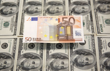 FILE PHOTO:  A picture illustration shows Euro and U.S. Dollar banknotes in Sarajevo