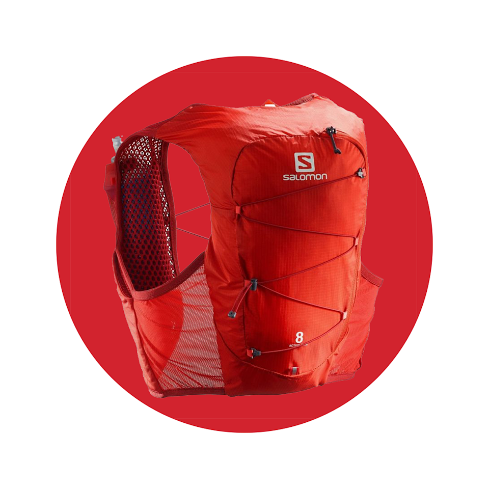 """<p><strong>salomon</strong></p><p>salomon.com</p><p><strong>$100.00</strong></p><p><a href=""""https://go.redirectingat.com?id=74968X1596630&url=https%3A%2F%2Fwww.salomon.com%2Fen-us%2Fshop%2Fproduct%2Factive-skin-8-set.html%23color%3D43120&sref=https%3A%2F%2Fwww.menshealth.com%2Ftechnology-gear%2Fg36954813%2Fmens-health-outdoor-awards-2021%2F"""" rel=""""nofollow noopener"""" target=""""_blank"""" data-ylk=""""slk:BUY IT HERE"""" class=""""link rapid-noclick-resp"""">BUY IT HERE</a></p><p>Skip the water jug and keep your hands free throughout the days with this vest, which was inspired by trail runners. It's compatible with a hydration bladder and can hold two 500ml flasks.</p>"""