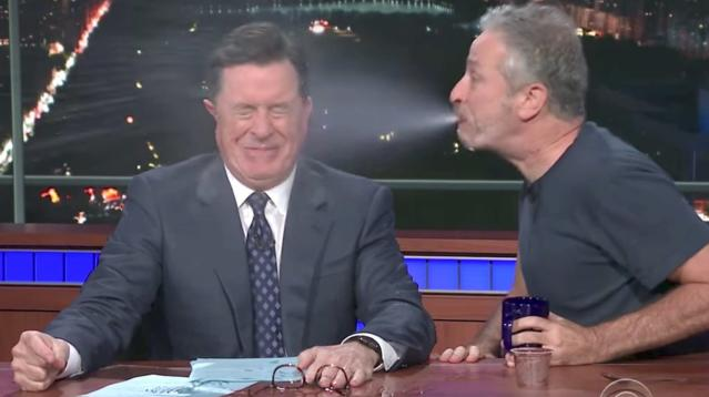 "Jon Stewart dropped by the CBS ""Late Show"" set on Wednesday, and things got messy in a hurry."