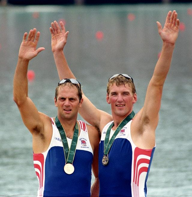 Steve Redgrave, left, felt ready to retire after winning gold in the coxless pairs alongside Matthew Pinsent in 1996