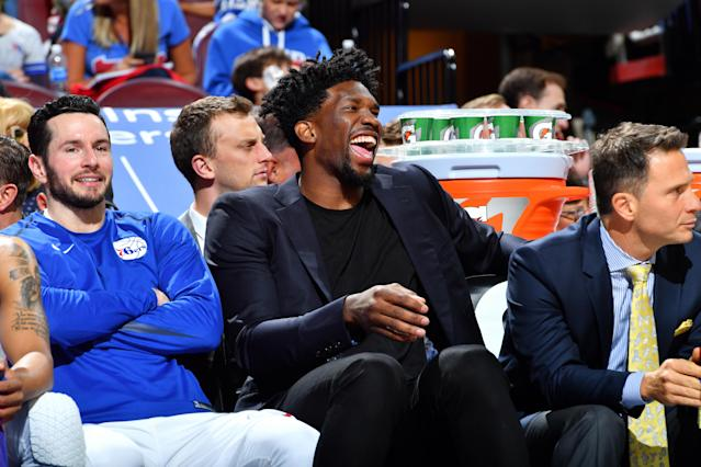 "<a class=""link rapid-noclick-resp"" href=""/nba/players/5294/"" data-ylk=""slk:Joel Embiid"">Joel Embiid</a> has many, many reasons to smile after agreeing to a five-year maximum contract extension. (Getty)"