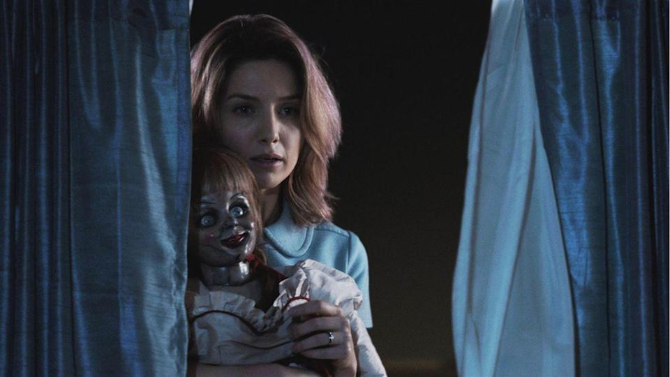 """<p><strong><em>Annabelle</em></strong></p><p>The spin-off of <em>The Conjuring</em> series finds the possessed Annabelle doll haunting a couple with a newborn baby.<br></p><p><a class=""""link rapid-noclick-resp"""" href=""""https://www.amazon.com/Annabelle-Wallis/dp/B00O4UQ7JU/?tag=syn-yahoo-20&ascsubtag=%5Bartid%7C10055.g.29120903%5Bsrc%7Cyahoo-us"""" rel=""""nofollow noopener"""" target=""""_blank"""" data-ylk=""""slk:WATCH NOW"""">WATCH NOW</a></p>"""