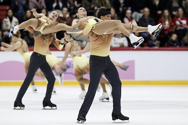 ISU World Synchronized Skating Championships 2019 - Free Skating - Helsinki, Finland - April 13, 2019. Team Nova Senior from Canada performs. Lehtikuva/Roni Rekomaa via REUTERS ATTENTION EDITORS - THIS IMAGE WAS PROVIDED BY A THIRD PARTY. NO THIRD PARTY SALES. NOT FOR USE BY REUTERS THIRD PARTY DISTRIBUTORS. FINLAND OUT. NO COMMERCIAL OR EDITORIAL SALES IN FINLAND.