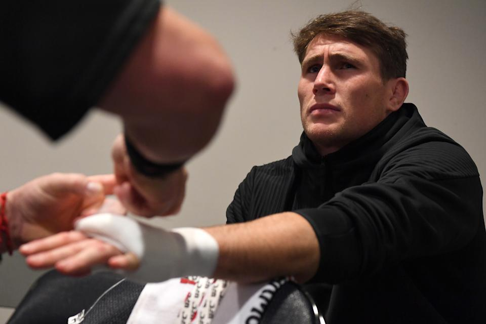 NEW YORK, NEW YORK - NOVEMBER 02: Darren Till of England has his hands wrapped backstage during the UFC 244 event at Madison Square Garden on November 02, 2019 in New York City. (Photo by Mike Roach/Zuffa LLC via Getty Images)