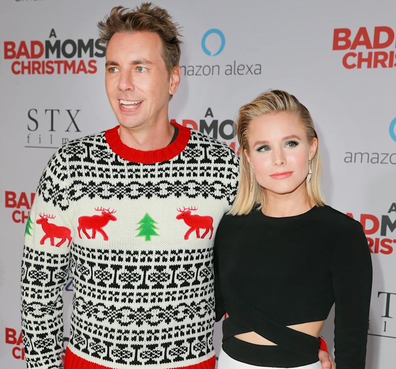 WESTWOOD, CA - OCTOBER 30: Kristen Bell (R) and Dax Shepard attend the premiere of STX Entertainment's