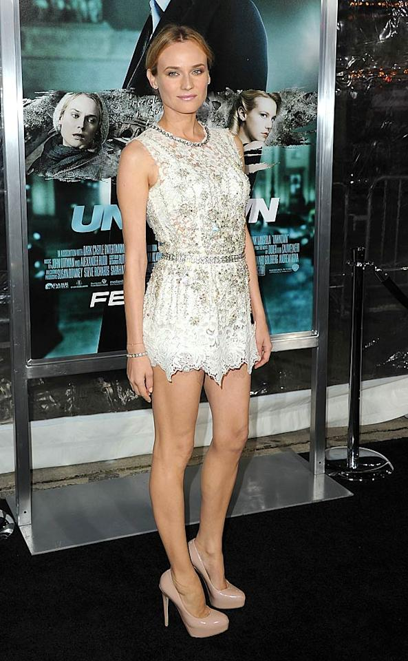"""Also seen showing off her signature stems ... German beauty Diane Kruger, who attended the Los Angeles premiere of """"Unknown"""" in a barely-there, lace Dolce & Gabbana dress, muted makeup, and patent leather Brian Atwood pumps. Jason Merritt/<a href=""""http://www.gettyimages.com/"""" target=""""new"""">GettyImages.com</a> - February 16, 2011"""