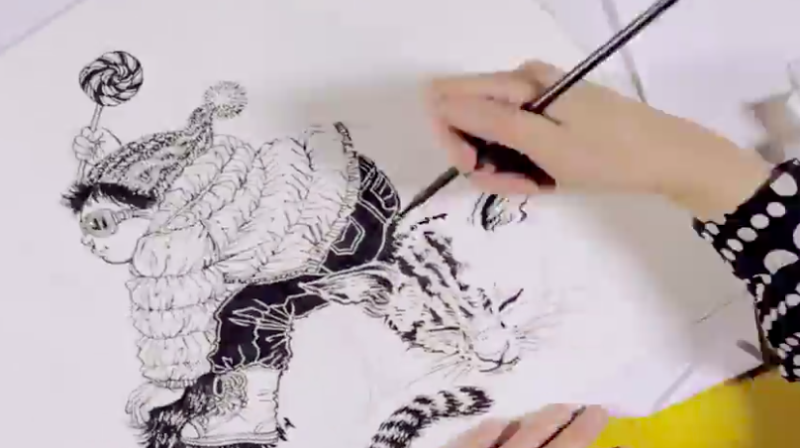Ink drawing techniques: Brush, nib and pen style. PHOTO: Skillshare