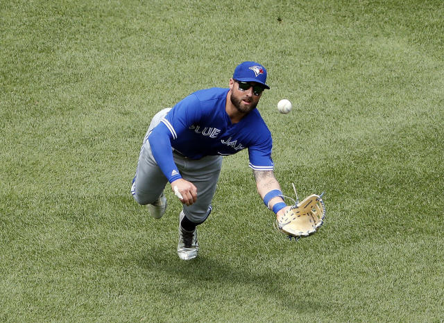 Toronto Blue Jays center fielder Kevin Pillar makes a catch during the first inning of a baseball game against the Boston Red Sox Saturday, July 14, 2018, in Boston. (AP Photo/Winslow Townson)