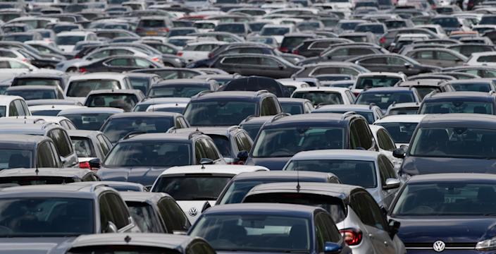 Thousands of used cars lined up at a site in Corby, Northamptonshire, waiting to be distributed to car dealerships around the UK. (Photo by Joe Giddens/PA Images via Getty Images)