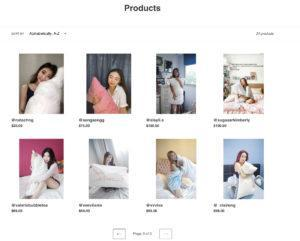 Screengrab of the products page of influencers hugging pillows before it was taken down.