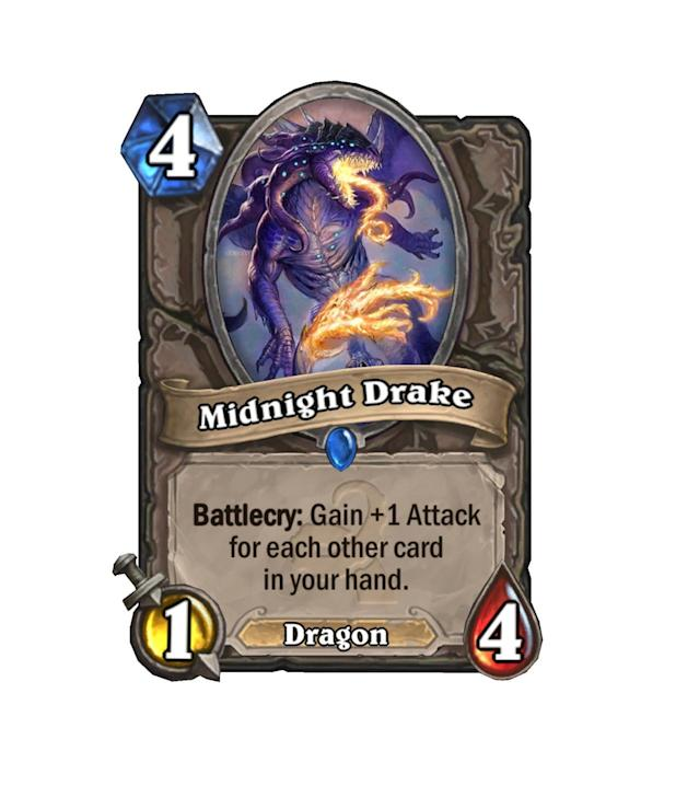 <p>We've seen Twilight Drake do some serious work in Handlock decks, so why not throw the mirror of the older card in as well? Given time and a deck with lots of draw, Midnight Drake will be a fatty when dropped on turn 4 (or 3, with the Coin).</p>