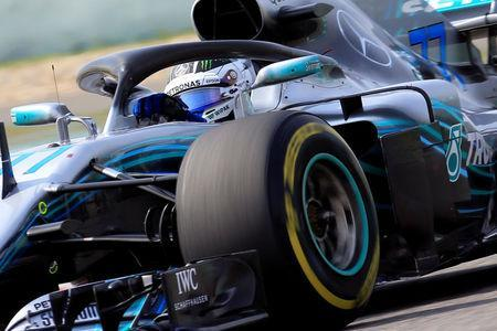 Formula One - F1 - Chinese Grand Prix - Shanghai, China - April 15, 2018 - Mercedes' Valtteri Bottas in action during the race. REUTERS/Aly Song