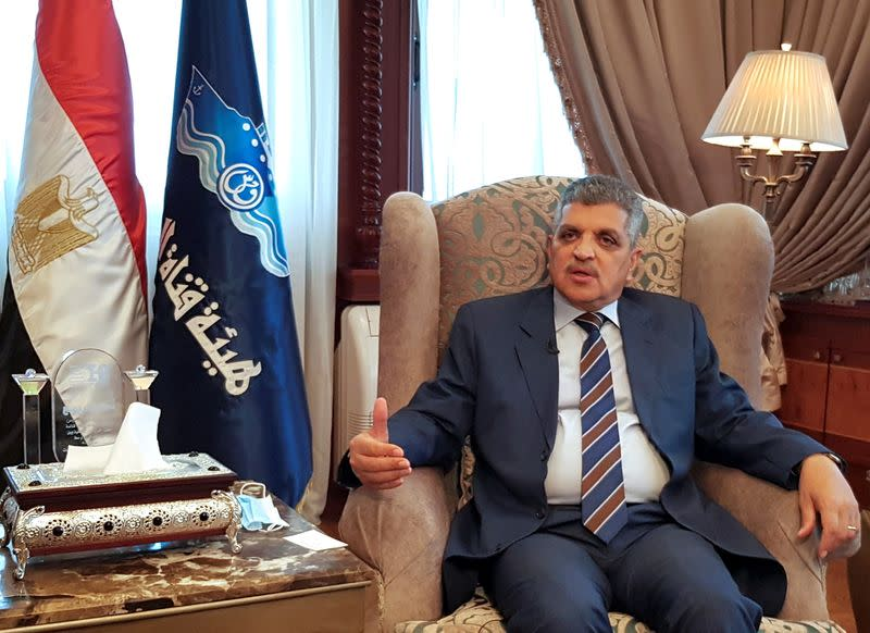 Osama Rabie, Chairman of the Suez Canal Authority, speaks during an interview with Reuters in his office in the city of Ismailia