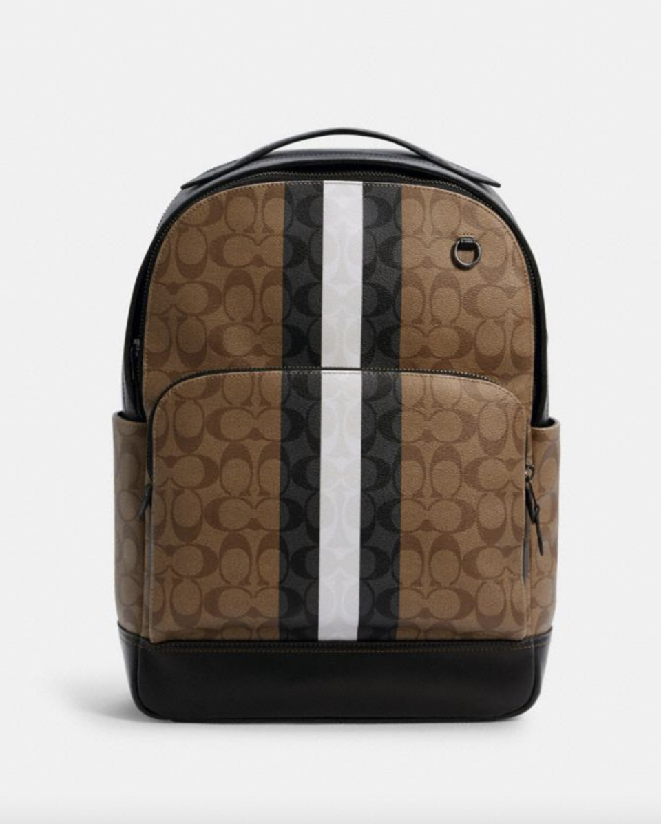 Graham Backpack in Signature Canvas with Varsity Stripe (Photo via Coach Outlet)