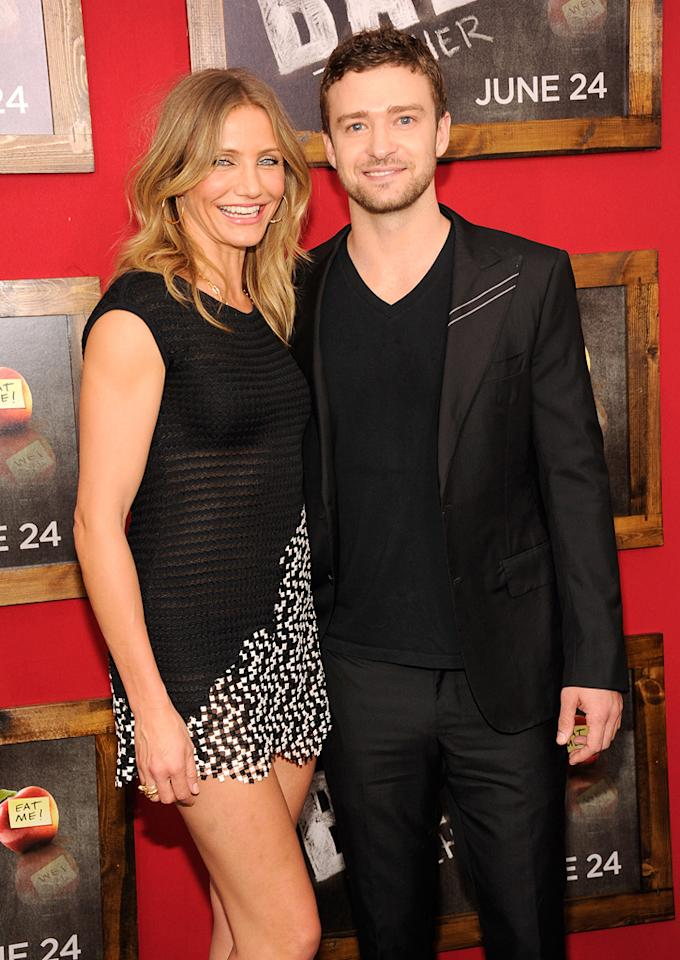 """<a href=""""http://movies.yahoo.com/movie/contributor/1800020297"""">Cameron Diaz</a> and <a href=""""http://movies.yahoo.com/movie/contributor/1802867309"""">Justin Timberlake</a> at the New York City premiere of <a href=""""http://movies.yahoo.com/movie/1810150690/info"""">Bad Teacher</a> on June 21, 2011."""