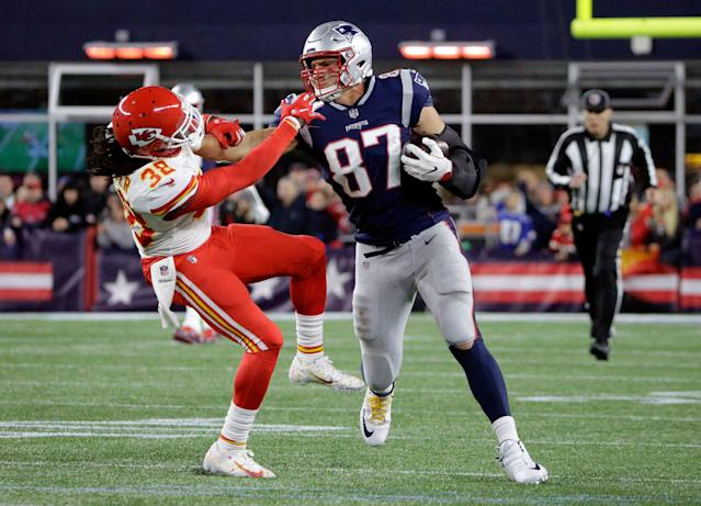 Retired tight end Rob Gronkowski will be missed by the New England Patriots and fantasy players. (AP Photo/Steven Senne)