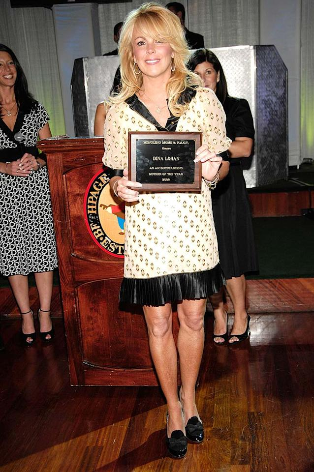 "According to the Mingling Moms Organization of Long Island, NY, Dina Lohan, Lindsay's fame-hungry momager, deserved an award for her parenting skills. Does allowing one's daughter to run wild in Hollywood earn bonus points? Gary Gershoff/<a href=""http://www.wireimage.com"" target=""new"">WireImage.com</a> - May 6, 2008"
