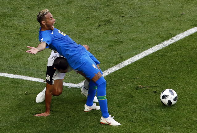 Neymar throws himself to the floor as he tries to win his side a penalty