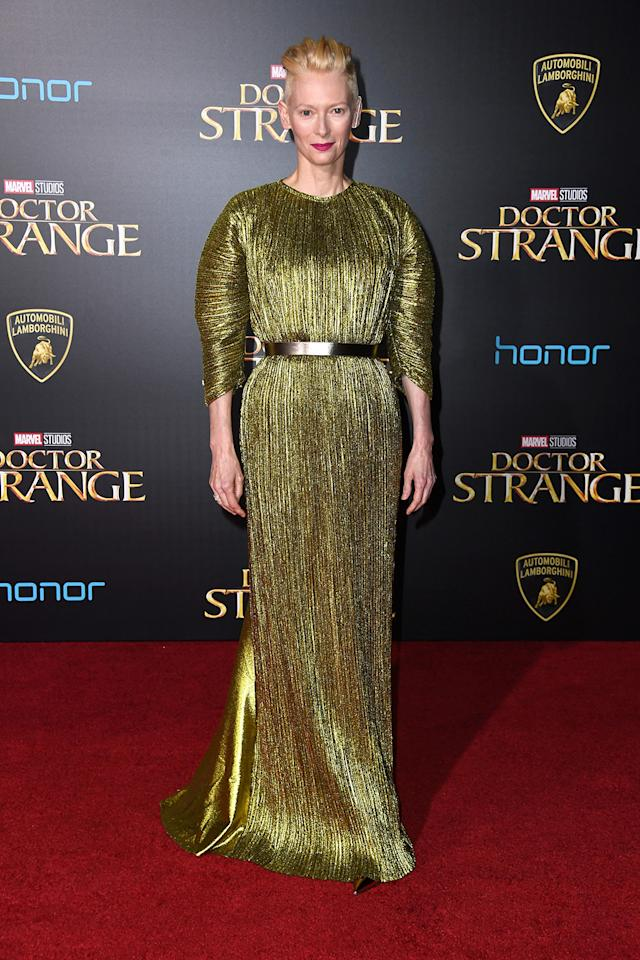 <p>Swinton plays Doctor Strange's mentor the Ancient One. (Photo: Frazer Harrison/Getty Images) </p>