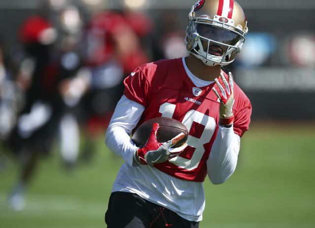 Rookie WR Dante Pettis is one of two 49ers who could deliver for fantasy managers in Week 2. Yahoo Fanalyst Liz Loza explains. (AP Photo/Ben Margot)