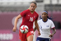 Canada's Janine Beckie, left, and United States' Crystal Dunn battle for the ball during a women's semifinal soccer match at the 2020 Summer Olympics, Monday, Aug. 2, 2021, in Kashima, Japan. (AP Photo/Andre Penner)