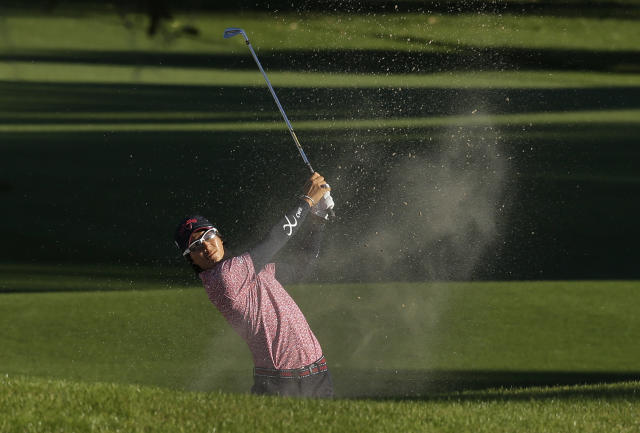 Ryo Ishikawa, of Japan, hits from the sand trap on the ninth fairway during the first round of the Valspar Championship golf tournament at Innisbrook, Thursday, March 13, 2014, in Palm Harbor, Fla. (AP Photo/Chris O'Meara)