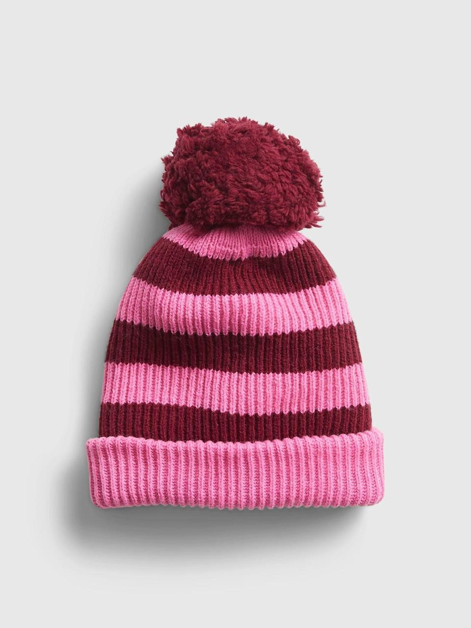 <p>One more hat! We love this cute <span>Gap Reversible Pom Beanie</span> ($16, originally $25) that gives you two Valentine's Day hats in one!</p>