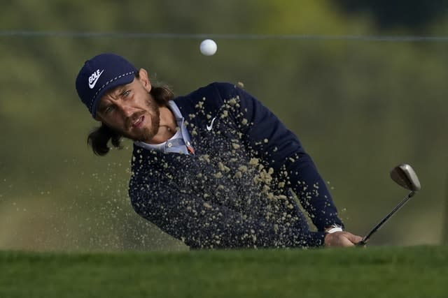 Tommy Fleetwood hits from the bunker on the 10th hole during the second round of the US PGA (AP Photo/Jeff Chiu)