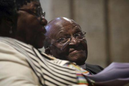 Archbishop Desmond Tutu and his wife Leah share a moment shortly before renewing their vows as they celebrate their 60th wedding anniversary in Cape Town