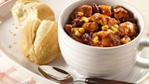 """<p>You'll get a fair share of chicken with this chili recipe. The name of this dish keeps true to its word by including huge pieces of chicken. </p> <p><a href=""""https://www.thedailymeal.com/recipes/chunky-chicken-chili?referrer=yahoo&category=beauty_food&include_utm=1&utm_medium=referral&utm_source=yahoo&utm_campaign=feed"""" rel=""""nofollow noopener"""" target=""""_blank"""" data-ylk=""""slk:For the Chunky Chicken Chili recipe, click here"""" class=""""link rapid-noclick-resp"""">For the Chunky Chicken Chili recipe, click here</a>.</p>"""