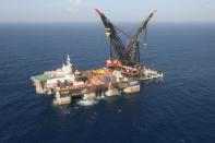 FILE PHOTO: An aerial view shows the newly arrived foundation platform of Leviathan natural gas field, in the Mediterranean Sea, off the coast of Haifa