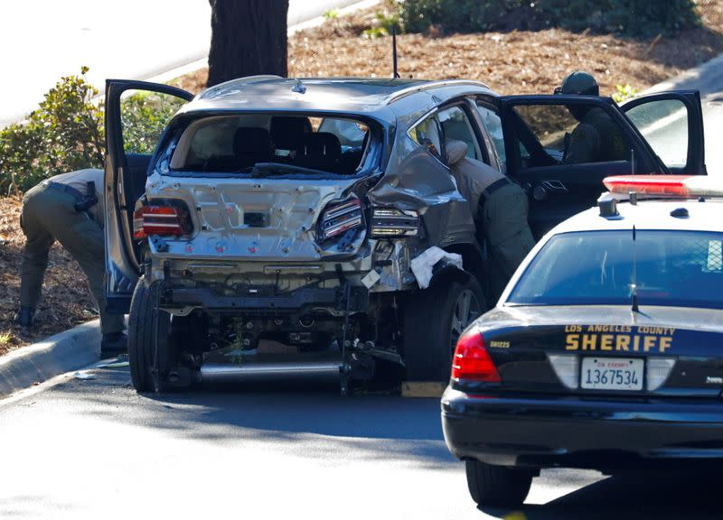 Vicinity of a scene where Tiger Woods was involved in a car crash near Los Angeles