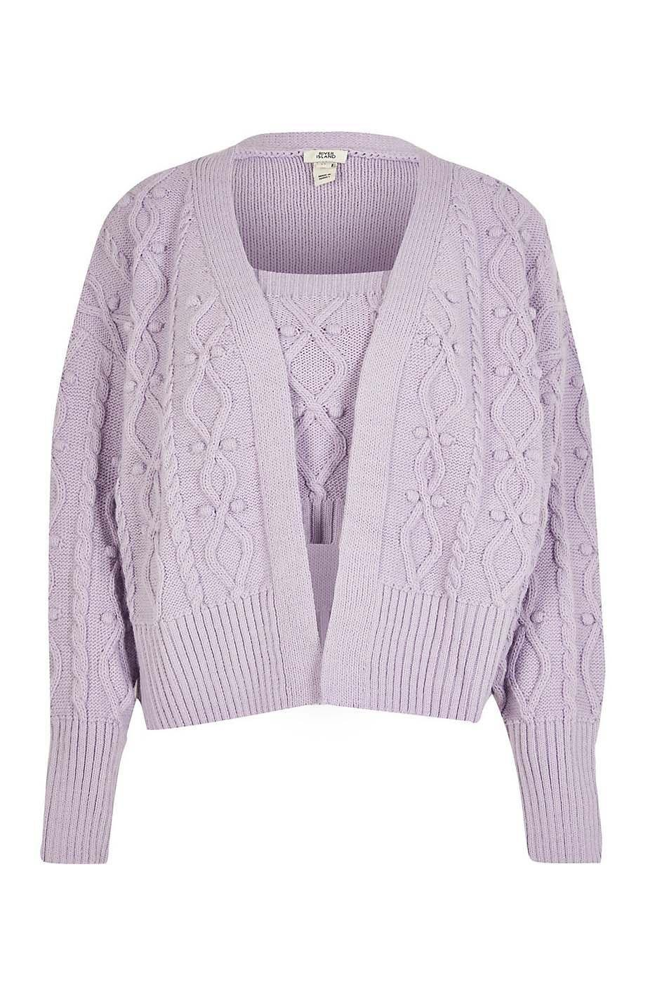 """<p><a class=""""link rapid-noclick-resp"""" href=""""https://go.redirectingat.com?id=127X1599956&url=https%3A%2F%2Fwww.riverisland.com%2Fp%2Fcream-knitted-cardi-and-bralet-set-790470&sref=https%3A%2F%2Fwww.harpersbazaar.com%2Fuk%2Ffashion%2Fwhat-to-wear%2Fg34860037%2Fthe-best-cardigan-sets-and-coords%2F"""" rel=""""nofollow noopener"""" target=""""_blank"""" data-ylk=""""slk:SHOP NOW"""">SHOP NOW</a></p><p>Lilac was a huge trend over the summer but River Island hasn't left it behind. This cable knit cardi and bralet proves exactly why it's a transseasonal colour.</p><p>Light purple knitted cardi and bralet set, £45, <a href=""""https://go.redirectingat.com?id=127X1599956&url=https%3A%2F%2Fwww.riverisland.com%2Fp%2Fcream-knitted-cardi-and-bralet-set-790470&sref=https%3A%2F%2Fwww.harpersbazaar.com%2Fuk%2Ffashion%2Fwhat-to-wear%2Fg34860037%2Fthe-best-cardigan-sets-and-coords%2F"""" rel=""""nofollow noopener"""" target=""""_blank"""" data-ylk=""""slk:River Island"""" class=""""link rapid-noclick-resp"""">River Island</a></p>"""
