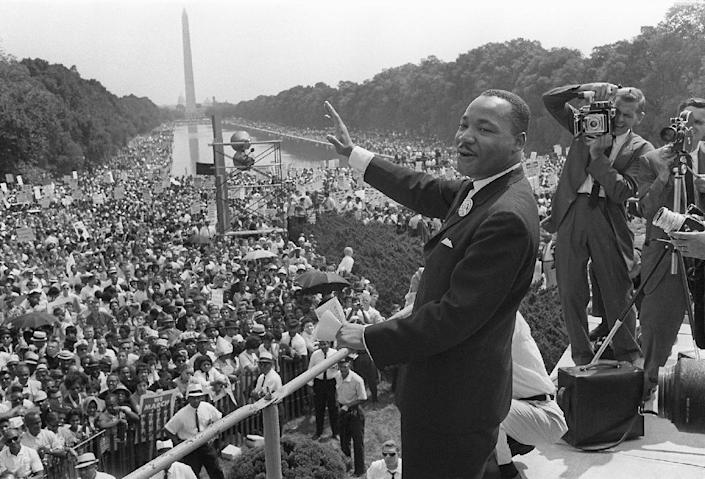 """US civil rights leader Martin Luther King Jr. at the """"March on Washington"""" in August 1963 where he delivered his celebrated """"I Have a Dream"""" speech (AFP Photo/)"""