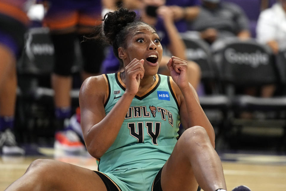 New York Liberty guard/forward Betnijah Laney reacts after getting called for a foul against the Phoenix Mercury during the second half in the first round of the WNBA basketball playoffs, Thursday, Sept. 23, 2021, in Phoenix. Phoenix won 83-82. (AP Photo/Rick Scuteri)