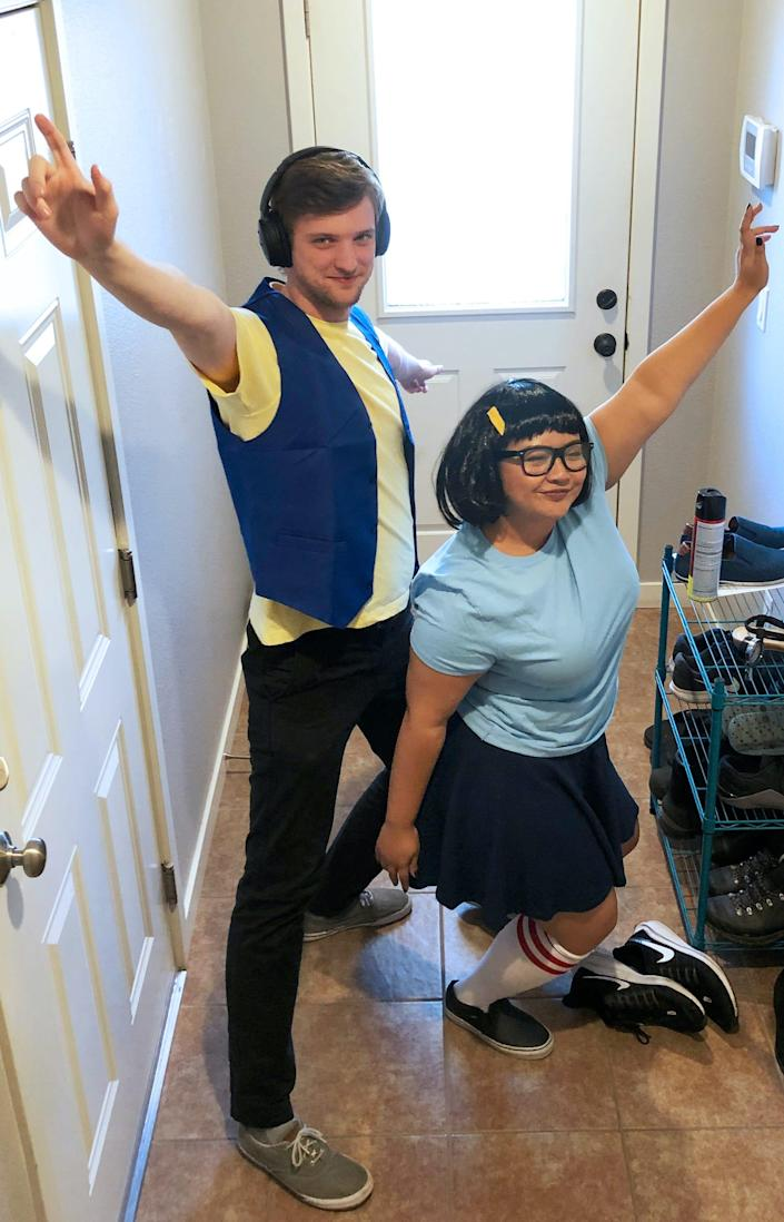 """A man dressed as Jimmy Jr. and a woman dressed as Tina Belcher from """"Bob's Burgers"""" pose for a photo."""