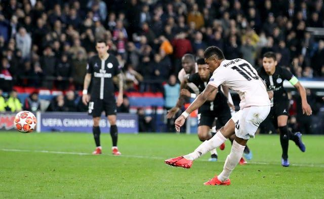 Edinson Cavani had a watching brief as Marcus Rashford, pictured, helped Manchester United dump Paris St Germain out of the Champions League in