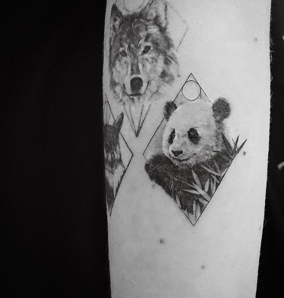 <p>The beauty YouTuber added an adorable geometric panda to what's becoming a zoo-themed sleeve.</p>