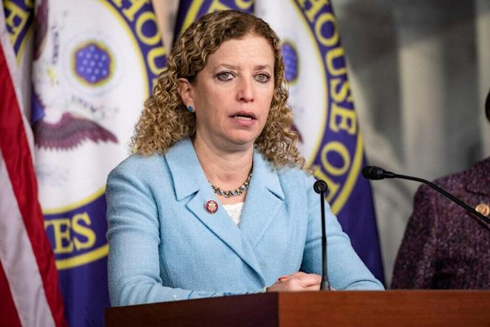 Representative Debbie Wasserman Schultz (D-FL) speaks about her experiences during a trip to Israel and Auschwitz-Birkenau as part of a bipartisan delegation from the House of Representatives on January 28, 2020 in Washington, DC. (Photo by Samuel Corum/Getty Images)