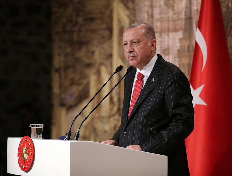 Turkish President Recep Tayyip Erdogan speaks to the foreign media, in Istanbul, on Friday: AP