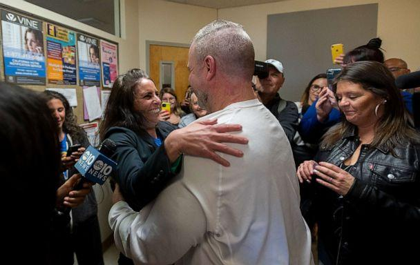 PHOTO: Ricky Davis is released from custody and hugs attorney Melissa O'Connell of the Innocence Project at the El Dorado County Jail, Feb 13, 2020 in Placerville, Calif., after he was found innocent in the 1985 cold case murder of Jane Hylton. (Paul Kitagaki Jr./Sacramento Bee via ZUMA Wire via Newscom)