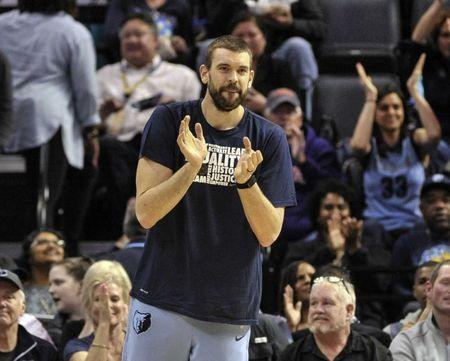 FILE PHOTO: Feb 5, 2019; Memphis, TN, USA; Memphis Grizzlies center Marc Gasol (33) reacts during the first half against the Minnesota Timberwolves at FedExForum. Mandatory Credit: Justin Ford-USA TODAY Sports