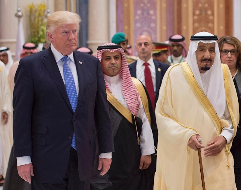 Saudi King Salman bin Abdulaziz al-Saud (right) and US President Donald Trump attend a meeting of the Gulf Cooperation Council in Riyadh
