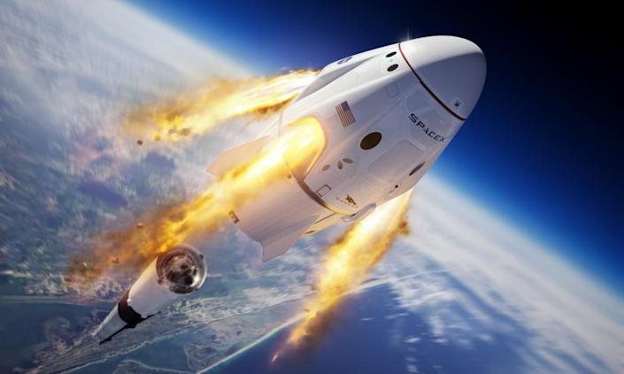 "<span class=""element-image__caption"">An illustration shows the Crew Dragon capsule and Falcon 9 rocket.</span> <span class=""element-image__credit"">Photograph: SpaceX/AP</span>"