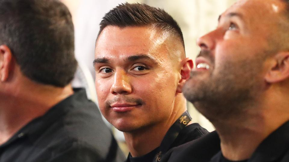 Tim Tszyu (pictured) smiling at the Paul Gallen and Lucas Browne fight.