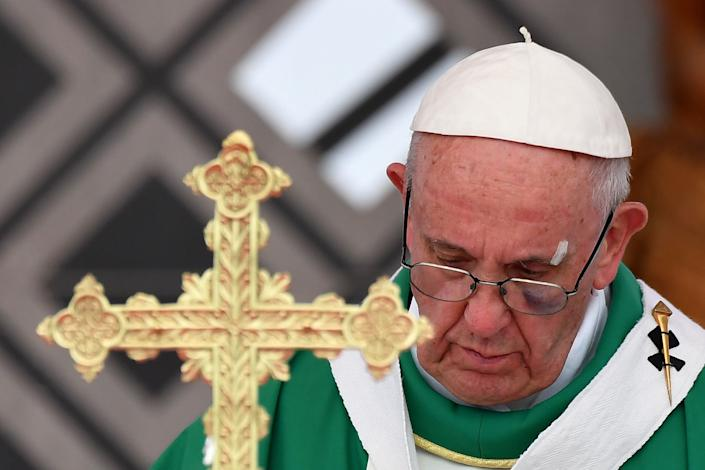 """The pontiff has <a href=""""http://www.latimes.com/world/europe/la-fg-pope-conservatives-2017-story.html"""" rel=""""nofollow noopener"""" target=""""_blank"""" data-ylk=""""slk:long faced backlash from conservatives in the church"""" class=""""link rapid-noclick-resp"""">long faced backlash from conservatives in the church</a> over some of his more progressive teachings. (Photo: ALBERTO PIZZOLI via Getty Images)"""