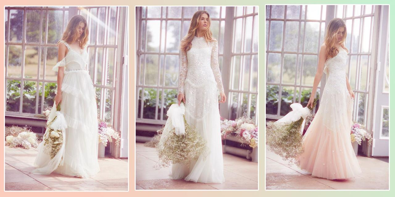<p>Wedding dresses are no longer only found on perfectly-preened shelves in stuffy boutiques, you can now shop affordable bridal wear on the high street. And just because the price tag is low doesn't mean these gowns and separates aren't more than worthy of your big day. </p><p>Here are 18 of our favourite brands doing the bridal thing right now, and why we love them so...</p>