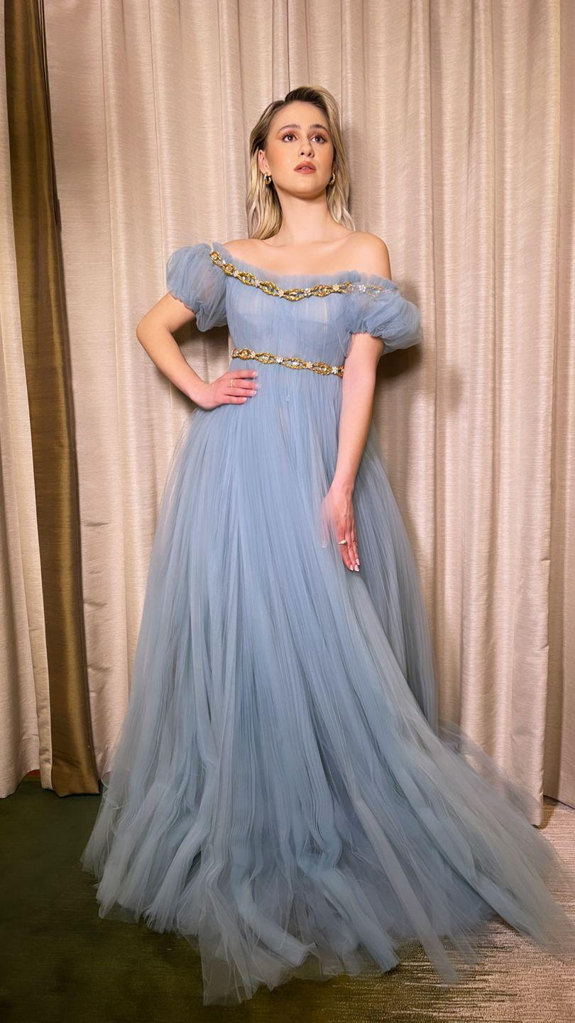 <p>The Borat Subsequent Moviefilm star wore a powder blue tulle gown by Dolce & Gabbana to the virtual awards show. </p>